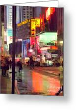 Times Square With Runaway Horse Greeting Card