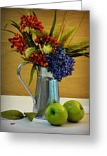 Tin Bouquet And Green Apples Greeting Card