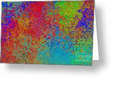 Tiny Blocks Digital Abstract - Bold Colors Greeting Card
