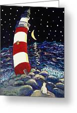 Tipsy Lighthouse With White Cat Greeting Card
