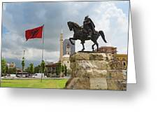 Tirana, Albania. Skanderbeg Square Greeting Card