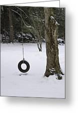 Tire Swing In Winter Greeting Card