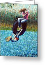 Tire Swing Greeting Card by Ned Shuchter
