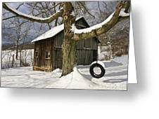Tire Swing Shed Greeting Card by Timothy Flanigan