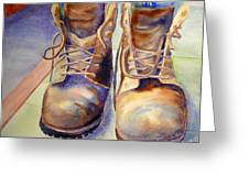 Tired Boots Greeting Card