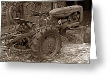 Tired Tractor...... Sepia Greeting Card