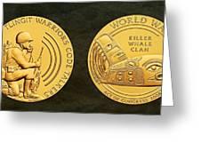 Tlingit Tribe Code Talkers Bronze Medal Art Greeting Card