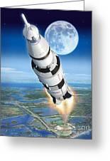 To The Moon Apollo 11 Greeting Card by Stu Shepherd