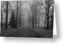 To Where It Leads  Bw Greeting Card