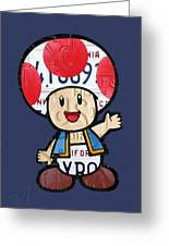Toad From Mario Brothers Nintendo Original Vintage Recycled License Plate Art Portrait Greeting Card