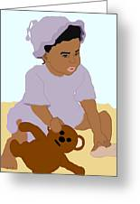 Toddler And Teddy Greeting Card