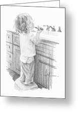 Toddler Brushing Teeth Pencil Portrait  Greeting Card