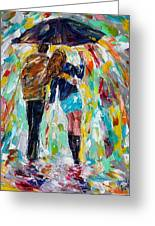 Together In The Rain  Greeting Card