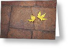 Together Yellow Maple Leaves Greeting Card