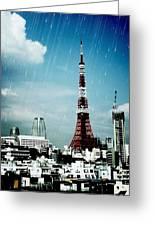Tokyo Eiffel  Greeting Card by Natalya Karavay