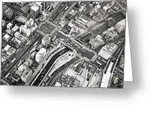 Tokyo Intersection Black And White Greeting Card