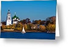 Tolga Monastery At River Volga Greeting Card