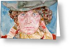 Tom Baker Doctor Who Watercolor Portrait Greeting Card