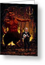 Tony Blair In Hell With Devil And Holding Weapons Of Mass Destruction Document Greeting Card by Martin Davey