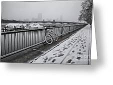 Too Cold To Cycle Greeting Card