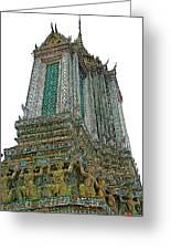 Top Of Temple Of The Dawn-wat Arun In Bangkok-thailand Greeting Card