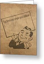 Top Ten Reasons People Procrastinate Pun Humor Motivational Poster Greeting Card