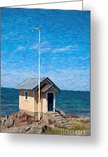 Torekov Beach Hut Painting Greeting Card
