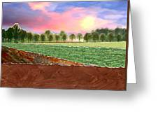 Torn Paper Fields Of Green And Brown Greeting Card