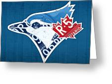 Toronto Blue Jays Baseball Team Vintage Logo Recycled Ontario License Plate Art Greeting Card