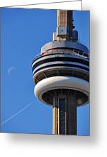 Toronto Cn Tower Moon And Jet Trail Greeting Card