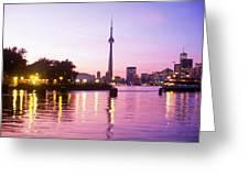 Toronto Skyline At Sunset, Toronto Greeting Card by Peter Mintz