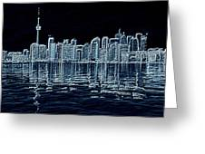 Toronto Skyline In Blue Greeting Card