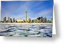 Toronto Skyline In Winter Greeting Card