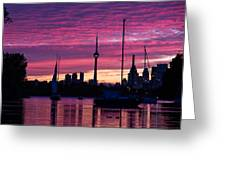 Toronto Skyline - The Boats Are Coming In Greeting Card