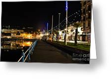Torquay Victoria Parade At Night Greeting Card