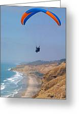 Torrey Pines Paragliders Greeting Card by Anna Lisa Yoder