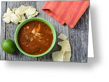 Tortilla Soup With Chips And Fresh Lime On Rustic Wood Backgroun Greeting Card