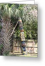 Totem Pole Greeting Card by Paula Rountree Bischoff