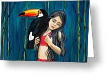 Toucan Girl Greeting Card