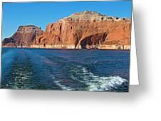 Tour Boat Wake In Lake Powell In Glen Canyon National Recreation Area-utah  Greeting Card