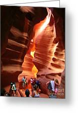 Touring Antelope Canyon Greeting Card