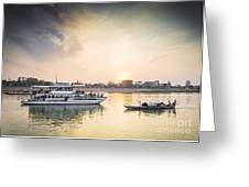 Tourist Boat On Sunset Cruise In Phnom Penh Cambodia River Greeting Card