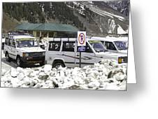 Tourist Vehicles Parked At The No Parking Sign In Sonmarg Greeting Card