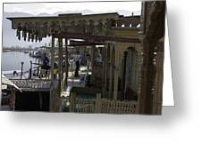 Tourists At The Front Section Of Houseboats Lined Up Along Dal Lake Greeting Card