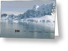 Tourists In Zodiac Boat Paradise Bay Greeting Card