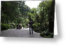 Tourists Inside A Downward Sloping Section In The Orchid Garden Greeting Card