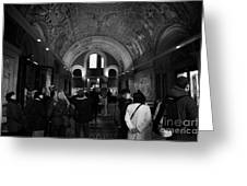 tourists inside the Gedenkhalle memorial hall of Kaiser Wilhelm Gednachtniskirche Greeting Card by Joe Fox