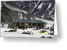 Tourists Surrounded By Snow And Ice Outside One Of The Few Buildings Greeting Card