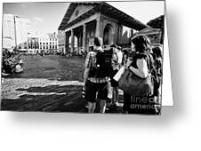 tourists watching street performers in covent garden London England UK Greeting Card