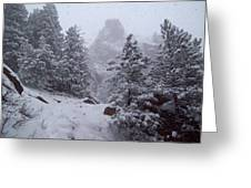 Towards Top Of Bear Peak Mountain During Intense Snow Storm - North Side Greeting Card